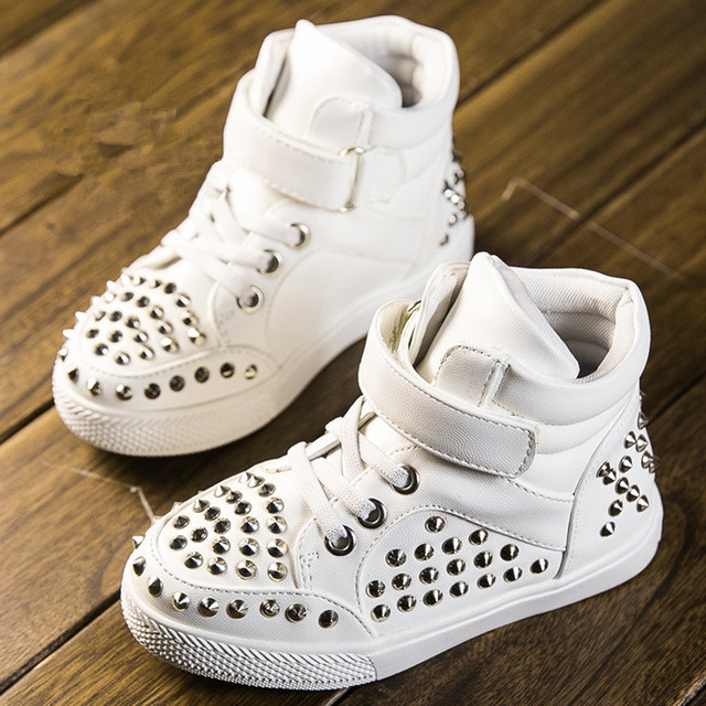 2015 autumn children shoes boys girls shoes comfortable rivets fashion children boots kids sneakers high top pu leather shoes