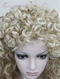 Image 5 - 強力な美容人工毛ロングカーリーブロンド茶黒かつらコスプレ女性のための