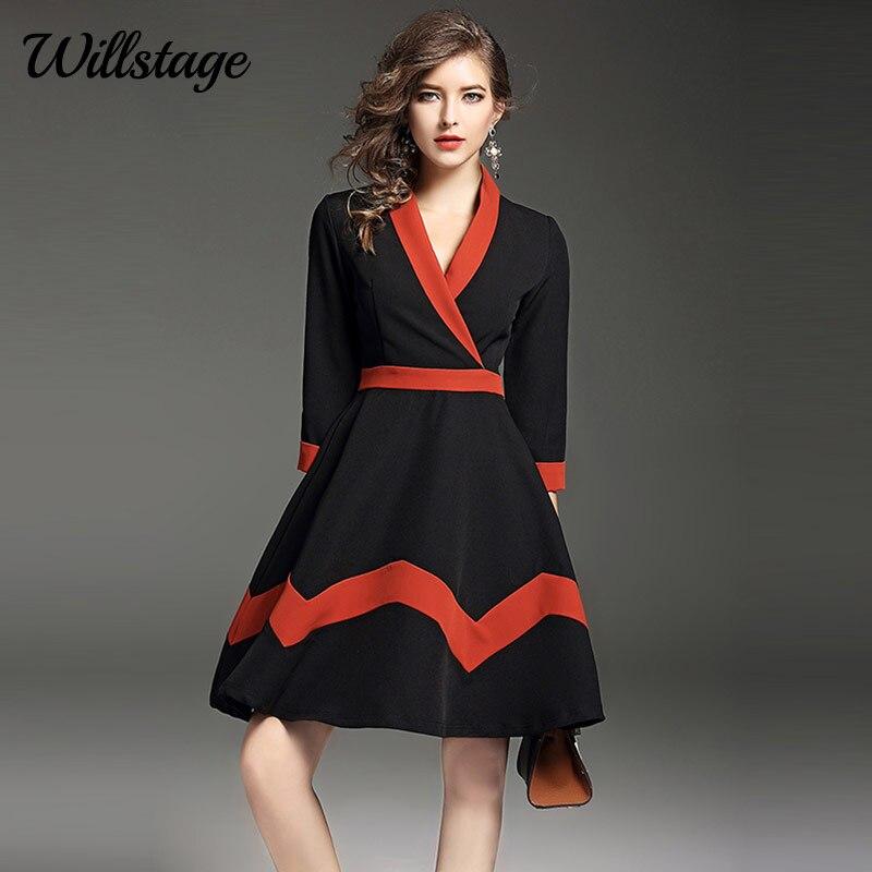 Willstage Elegant Women dress Patchwork V neck A line dresses Office ladies OL Work Wear 2019 Autumn Winter Party Ball Vestidos