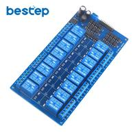 16 Channel 12V Relay Module Board With Optocoupler Power Supply ARM DSP Free Shipping