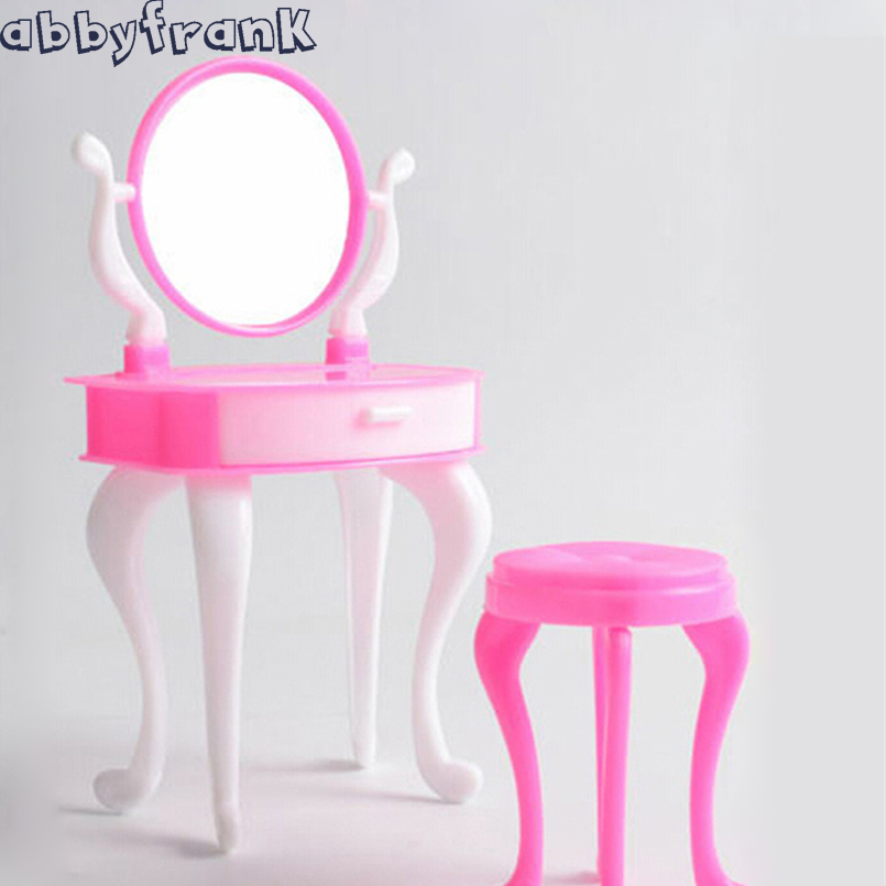 Doll Furniture Doll Accessories Make Up Mirror Plastic Chair Set Dresser Dressing Table House Home Bedroom Furniture Toy For Gir
