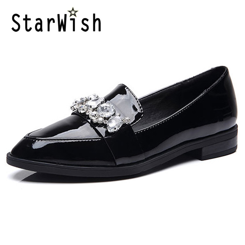 ФОТО British Style Oxfords 2017 Platform Crystal Loafers Shoes Woman Genuine Leather Creeper Spring Womens Flats Black Red Shoes E53