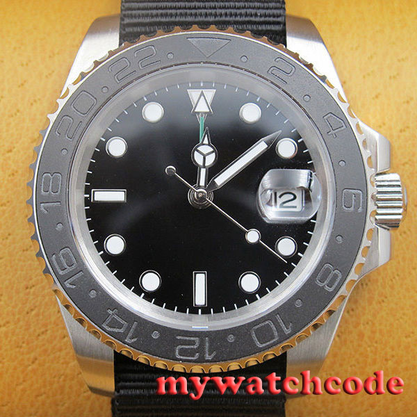 40mm parnis black GMT ceramic bezel sapphire crystal automatic mens watch P406 цена 2017