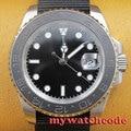 40mm parnis black GMT ceramic bezel sapphire crystal automatic mens watch P406
