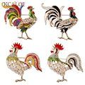 Christmas Gifts Fashion Beautiful Colorful Crystal Gold Cockerel/Rooster/Chicken/ Brooch Pin  Unisex Brooches Jewelry
