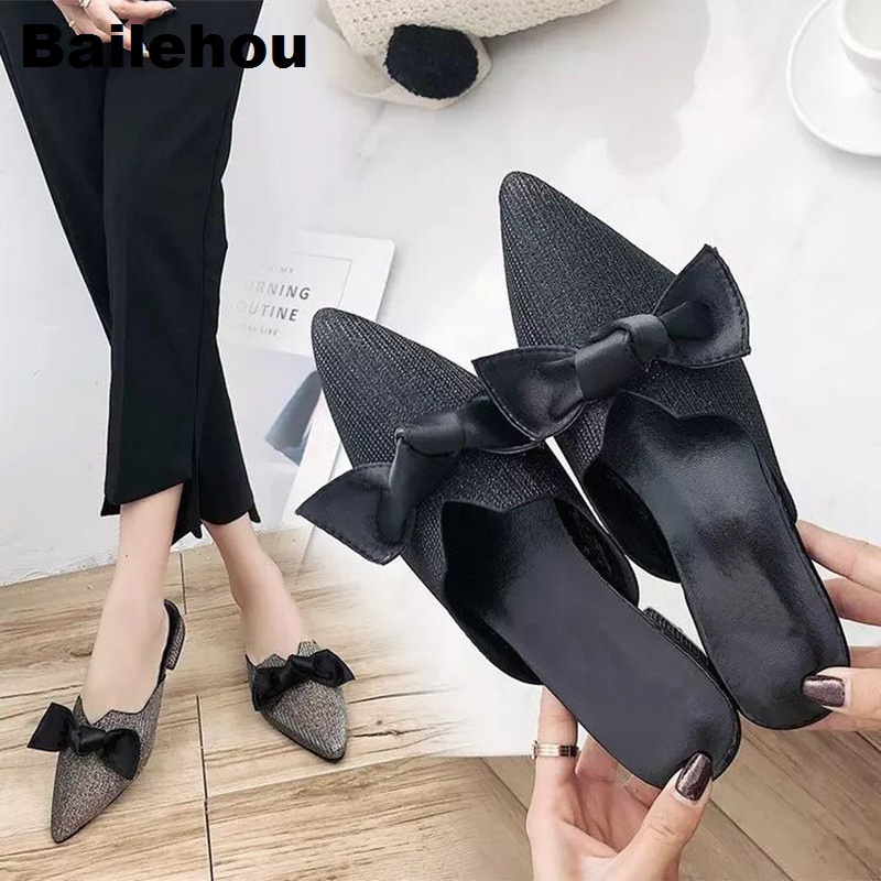 Bailehou Women Slippers Casual Slip On Slides Butterfly-knot Women Mules Bling Sequined Cloth Low heel Ladies Shoes Flat Loafers 2 5cm low heel rhinestones slides women sandals shoes 2016 female slippers hoof heel real photo ladies slides new arrival
