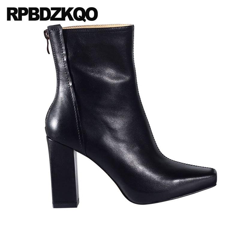 Ankle Karree Leder Hohe Kurze 2018 Handgemachte Chunky Luxus Schwarzes Frauen Designer Herbst Booties Echtem Schwarz Block Ferse Schuhe w77AqUpX