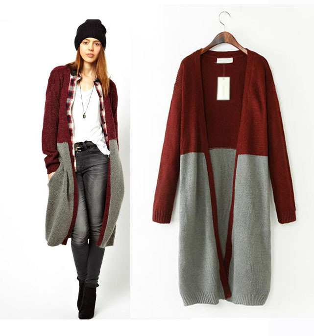 Free Shipping Red and Grey Color Matching Women Casual Long Sweater  Coat,Girl Knitted Sweater Knitwear HC668-in Cardigans from Women's Clothing  ...