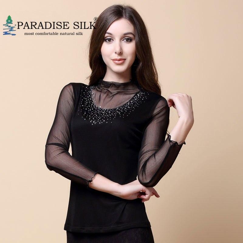 Femmes haut à col roulé 100% maille en tricot de soie avec perles chemise à manches longues pour les femmes taille L XL XXL