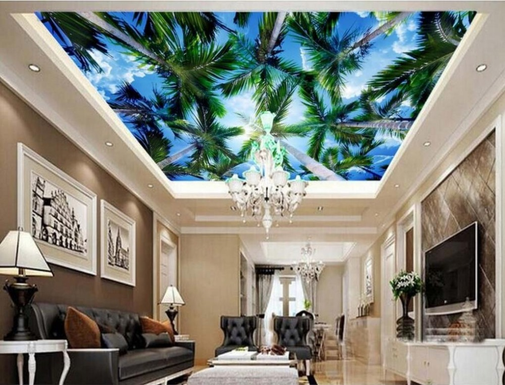 Sky Ceiling Wallpaper Home Improvement 3d Wall paper For Living Room Sky Coconut Blue Sky 3d Ceiling Background Wall blue earth cosmic sky zenith living room ceiling murals 3d wallpaper the living room bedroom study paper 3d wallpaper