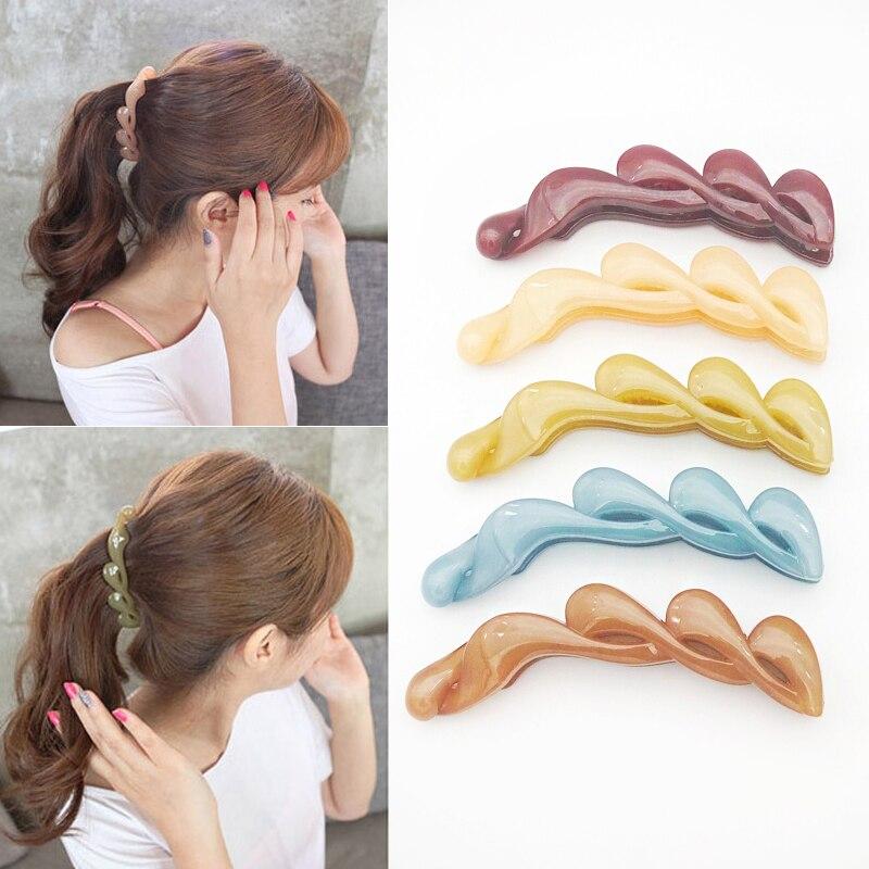 Random Color Women Banana Hair Clips Claws Hair Combs Fashion Elegant Lady Ponytail Holder Barrettes Hair Accessories