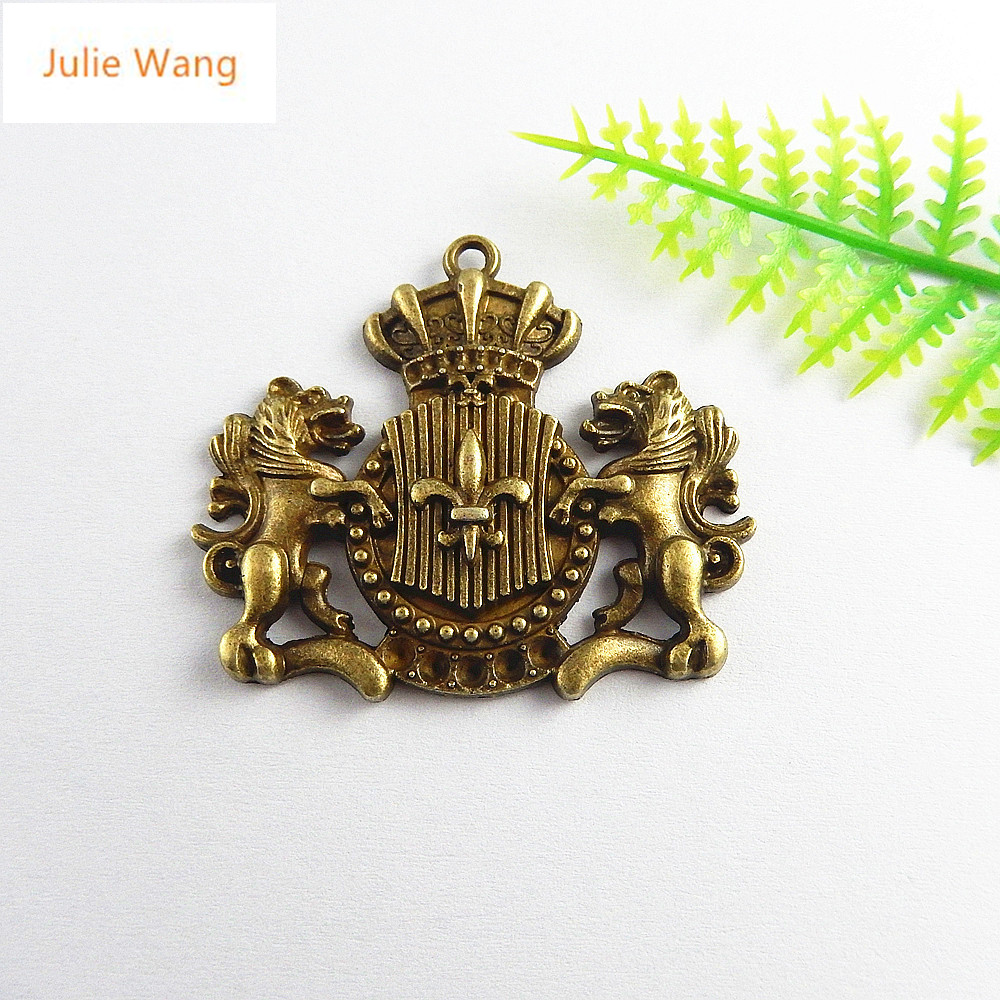 Julie Wang 5PCS Antique Bronze Lion Guardian Badge Charms Pendants Jewelry Making Necklace Gifts Key Chains Accessory