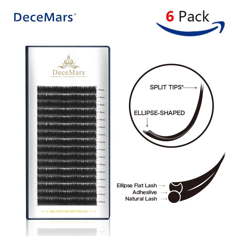 7e6cc0dabf7 DeceMars 6Trays/Set Ellipse Flat Lashes Premium C & D Curl/0,15/0,20 Individual  Lashes/8mm - 15mm eyelash extension Mink lash