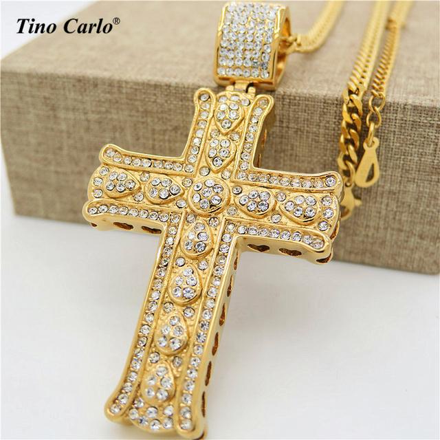 Tino Carlo Nueva Moda Chapado En Oro Del Corazón de Los Hombres Religiosos Collar Declaración Cruz Iced Out Acero Gran Cruz Colgante Collar