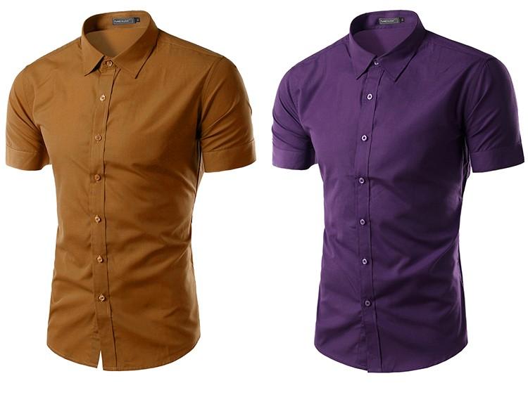 camisa social manga curta caqui, camisa social manga curta roxa