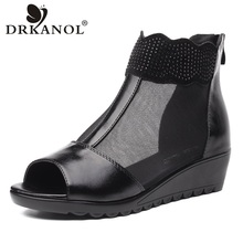 DRKANOL New Arrival Wedge Sandals Women Shoes Genuine Leather Peep Toe Rhinestone Summer Women Sandals Zipper Ladies Shoes bohemian sandals for women wedge shoes crystal decoration grey army green shoes ladies cute casual shoes rhinestone sandals