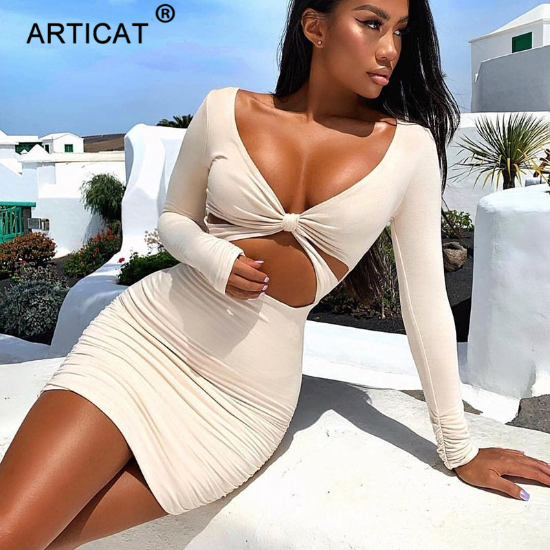 Articat <font><b>White</b></font> <font><b>Sexy</b></font> Hollow Out Women Summer <font><b>Dress</b></font> 2019 Long Sleeve V-Neck Bodycon Pleated Short <font><b>Dress</b></font> Casual Beach Party <font><b>Dresses</b></font> image