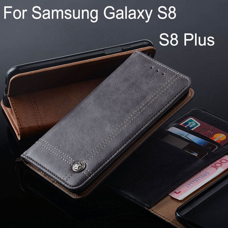 wholesale dealer 59e5f 74098 Coque For Samsung Galaxy S8 Case Leather Flip Cover With Stand Card Slot  Cases For Samsung Galaxy S8 Plus Without Magnets