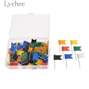 Lychee 100 sztuk flaga szpilki Marker kolorowym oznakowaniem kołki z pudełkiem DIY Scrapbooking dekoracji brady przyrządy do szycia