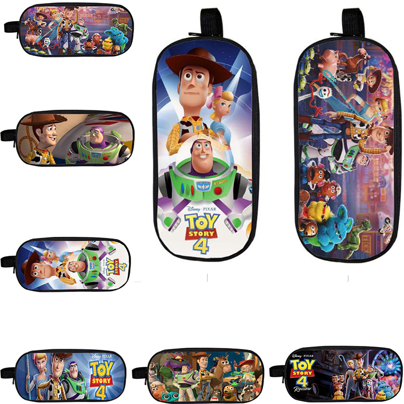 Toy Story 4 Student Pencil Bags Pen Case Stationery Boy Bag Large Capacity Action Figures Toys