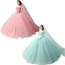 NK 2 Set Doll Dress High quality Handmade Long Tail Evening Gown Clothes  Lace Wedding Dress +Veil For Barbie 1 6 Doll Best Gift 590ae56e07f5