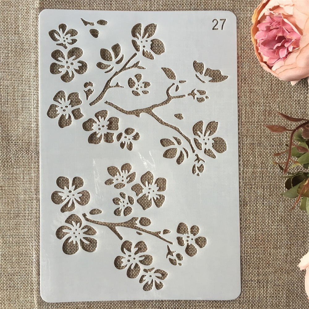 New 26cm Flower Branch DIY Craft Layering Stencils Painting Scrapbooking Stamping Embossing Album Paper Card Template