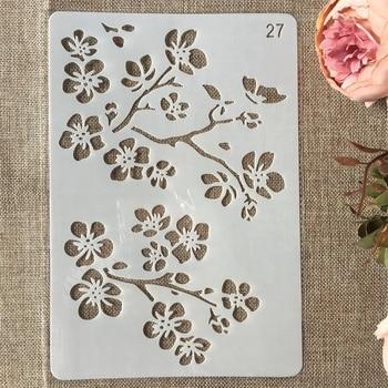 цены New 26cm Flower Branch DIY Craft Layering Stencils Painting Scrapbooking Stamping Embossing Album Paper Card Template