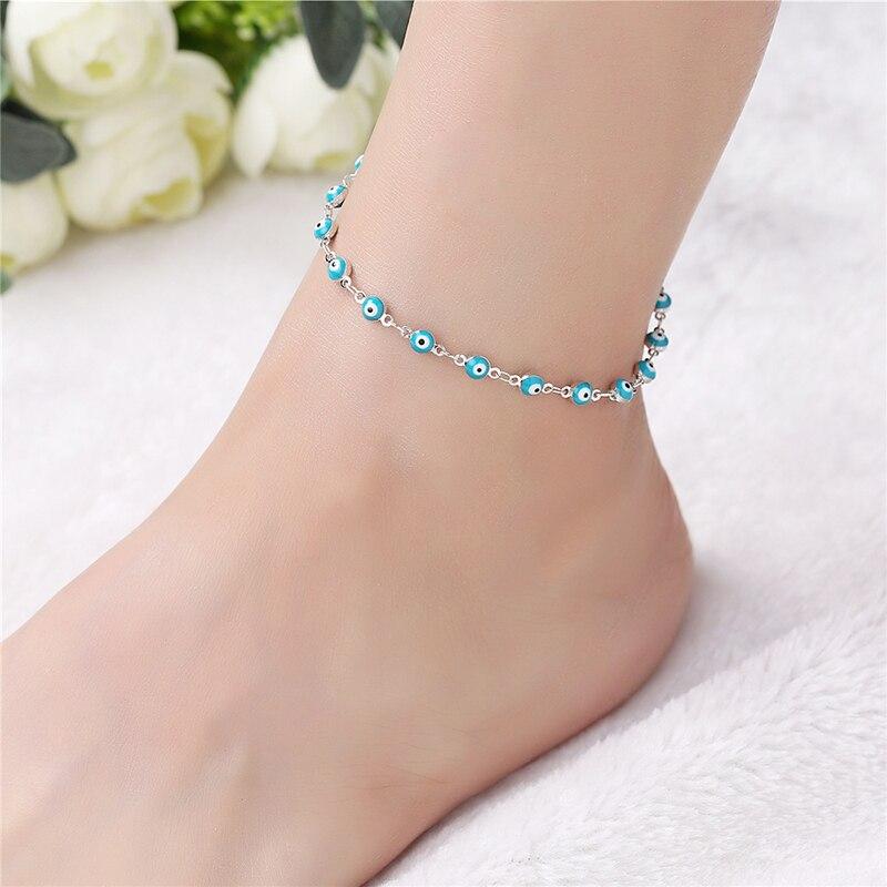 Vintage DIY Evil Eye Ankle Bracelet Bohemian 925 Silver Anklet Women Foot Jewelry Summer Beach Holiday Accessorie 3B146