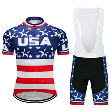 USA jersey Tops Style Summer Breathable Cycling Jerseys Quick Dry Bicycle American Flag Short Riding Clothing Shirt Sets