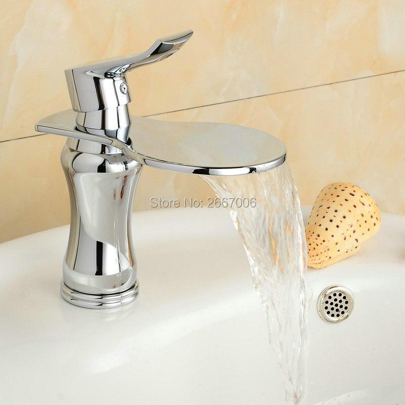 Free shipping Brass Chrome Tap Bathroom Basin Faucet Big Spout Waterfall Faucet Bathroom Faucet torneira para banheiro ZR620 ouboni hot sale bathroom basin faucet chrome brass mixer tap jn6116h led waterfall spout torneiras para banheiro