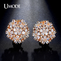 UMODE Latest Pear Cut Cluster Flower simulated Diamond Gold Plated French Clip Stud Earrings for Women Boucle D'oreille UE0188A