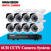 8CH DVR 8 Channel Security Recorder HDMI And 8pcs 800TVL 24LED Outdoor Monitor Cameras Cctv Kit