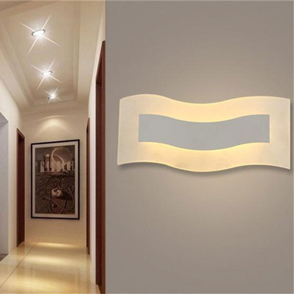 AC100-240V W30*H12cm12w Led wall lamp modern minimalist LED wavy acrylic wall sconces corridor warm white neutral white lighting vemma acrylic minimalist modern led ceiling lamps kitchen bathroom bedroom balcony corridor lamp lighting study