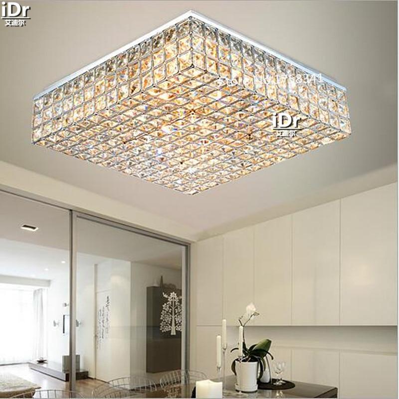 US $198.0 50% OFF Living room lamps crystal lighting master bedroom room  square headlights minimalist atmosphere Ceiling Lights Rmy 0491-in Ceiling  ...