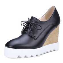 White Black Red Women PU Leather Oxfords Wedge High Heels Triffle Platform Elevator Shoes Casual Creepers Brogues Spring Autumn