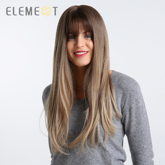Element 22 inch Long Synthetic Wig with Bangs High Density Dark Root Natural Headline Heat Resistant Hair Wigs for Women 3 Color 1