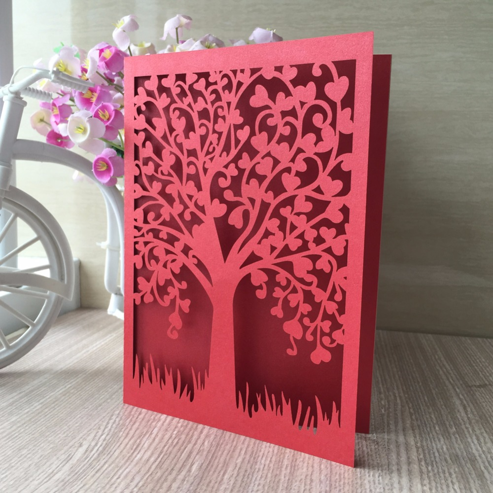 Us 17 05 45 Off 50pcs Lot Wedding Celebration Birthday Party Invitation Card 50 Pcs White Blue Laser Cut Delicate Tree Carved Pattern In Cards