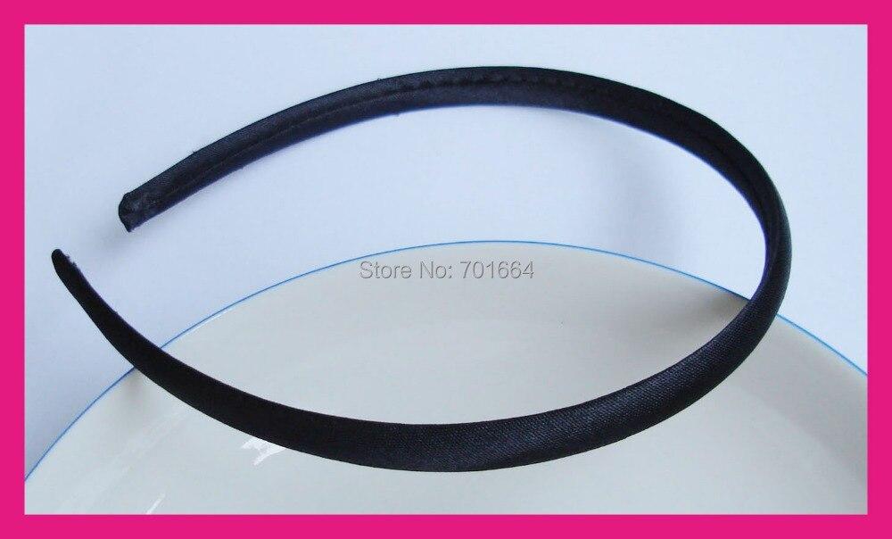 """10 шт. 10 мм 2/"""" Черная атласная ткань, обмотанная обычной пластиковой лентой для волос, полностью покрытые повязки для волос, аксессуары для волос ручной работы"""