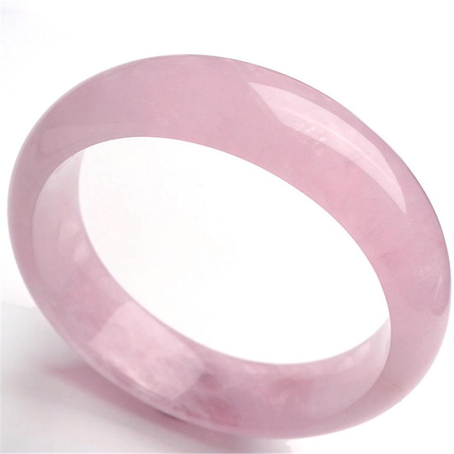 Inner Diameter 61mm Genuine Natural Madagascar Rose Crystal Round Charm Bracelet Bangles Women