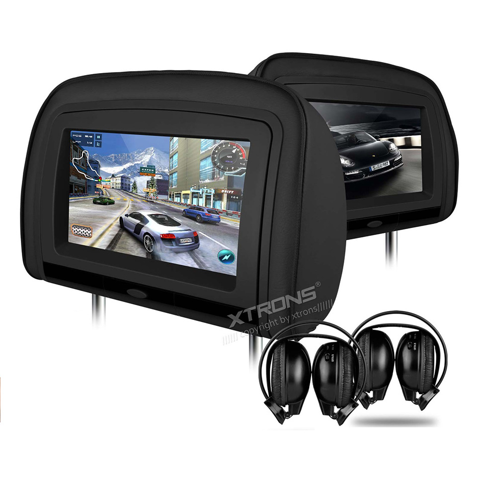 2x9 HDMI 1080P Headrest Car DVD Player Backseat Video Support 32 Bits Game Detachable Zipper Cover IR FM USB TF Pillow Monitor