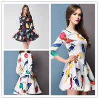 2014 Spring Stylish Women S Bird Flora Print 3 4 Sleeve Slim Mini Dress 2 Colors