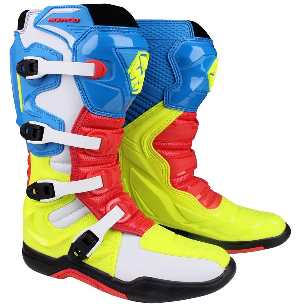 SCOYCO MBM003 motocykl Motocross ATV buty Off-road wyścigi męskie buty Moto motocykl długie kolana wysokie top bezpieczeństwa CE