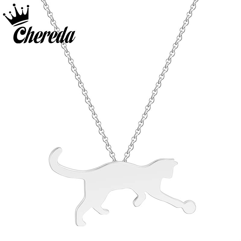 Chereda Fashion Stainless Steel Pendant Necklace Cute Cat Animal Chain Woman Jewelry Party Accessories