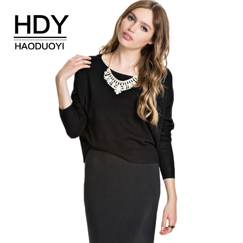 NEW FASHIONS  HDY Haoduoyi Autumn Women Sweater Back Hollow Out Long Sleeve O-neck Sweaters Fashion Sexy Casual Sweater Female Pullover Tops