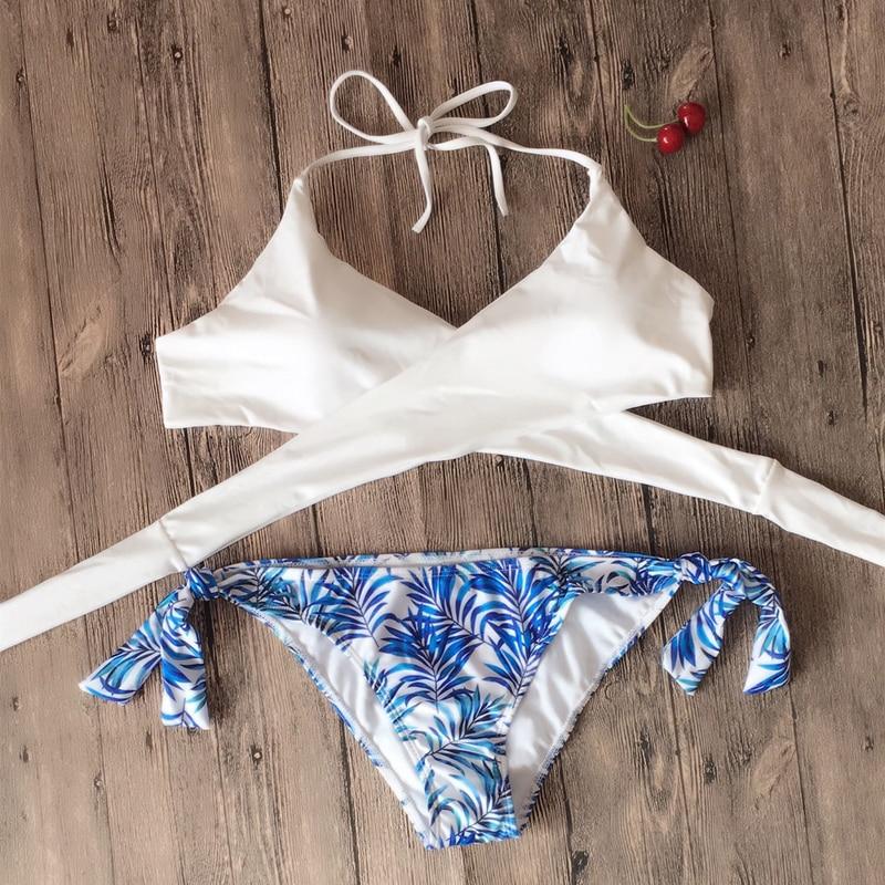 HTB1WrV8m9 I8KJjy0Foq6yFnVXaK Halter Swimwear Bikini 2019 Thong Bikini Blue Set Women Bikini Brazilian Swimwear female Biquinis Push Up Swimsuit