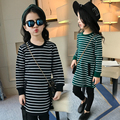 2017 spring and autumn hot fashion children's cotton T-shirt girls 4-11 years old striped thread long cultivating bottoming shir