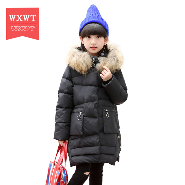 a3e7482b3 US $75.81 |Winter girls Duck Down Jackets Children Long Model down Coats  baby girl Zipper Hooded Fur coats Warm kids down Jackets-in Down & Parkas  ...