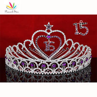 Peacock Star Sweet 15 & 16 Birthday Crystal Purple Heart Star Quinceanera Tiara CT1524