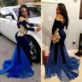 Africano de 2017 Mangas Compridas Vestidos De Baile De Veludo Elegante Barco Decote Até O Chão da Sereia Azul Royal Vestidos de Noite Com Rendas De Ouro