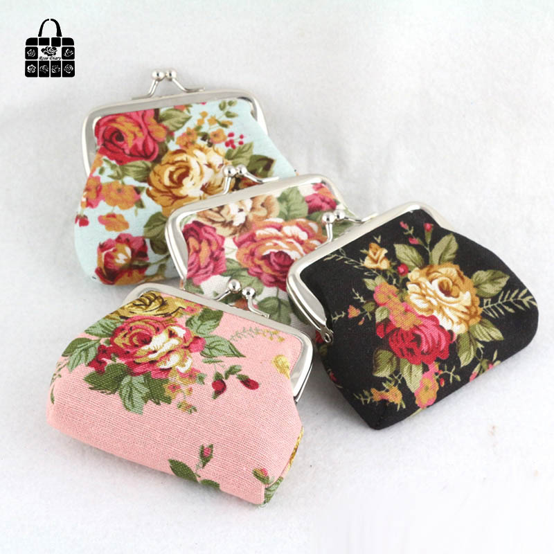 ROSEDIARY Elegant roses canvas Mini coin purses zero wallet child girl women change purse,lady zero wallets,coin bag